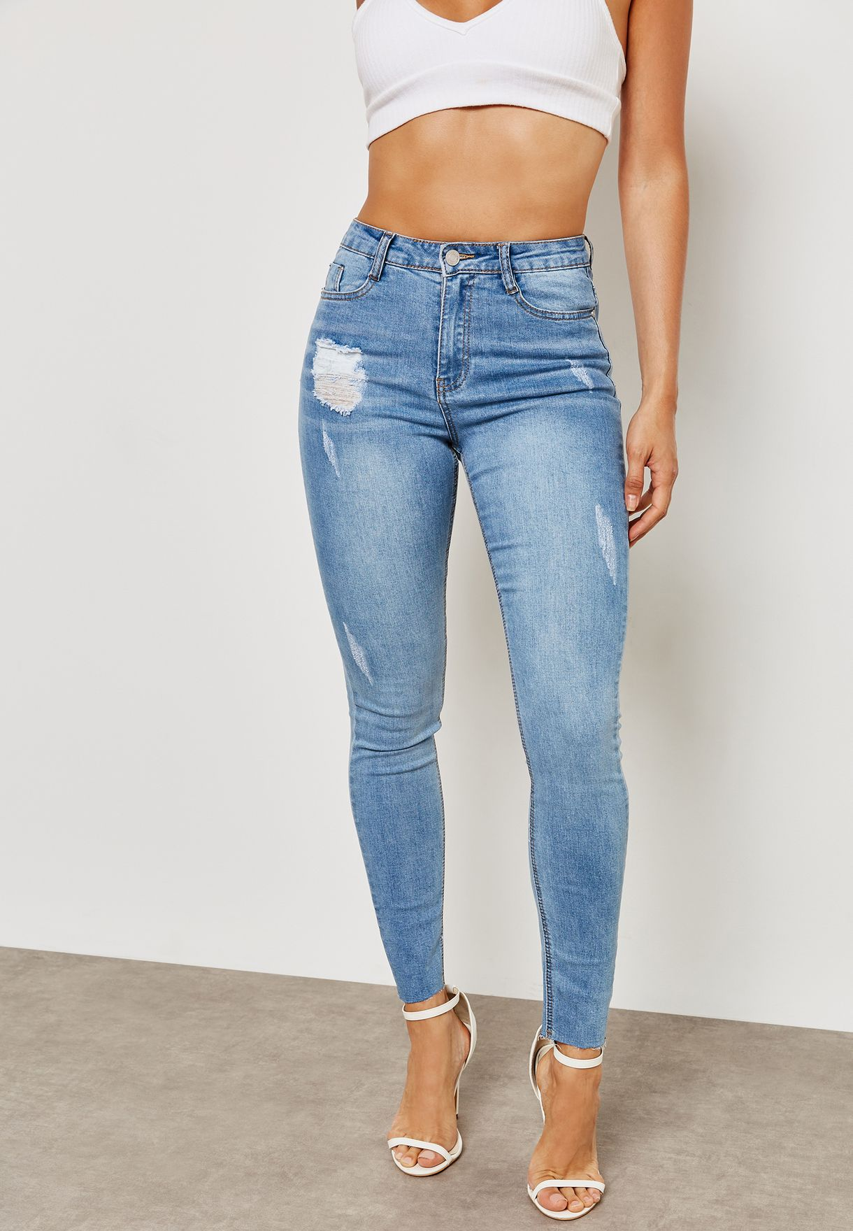 73f0a3b5e04fd Shop Missguided blue Sinner Clean Distressed Skinny G1804051 for ...