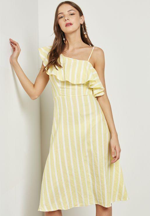 فستان بخطوط وكتف واحد