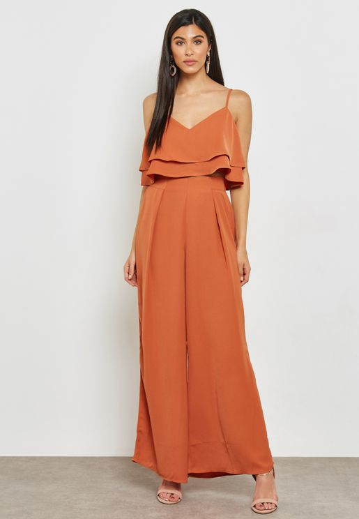 Front Slit Detail Wide Leg Pants