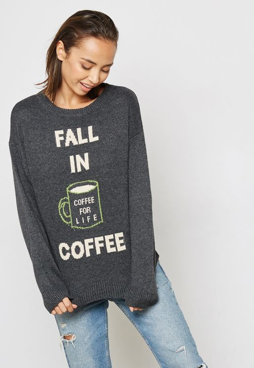 Embroidered Slogan Sweater