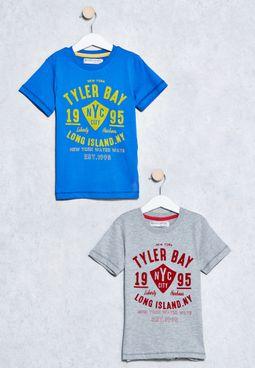 Kids 2 Pack Tyler Bay Print T-Shirts