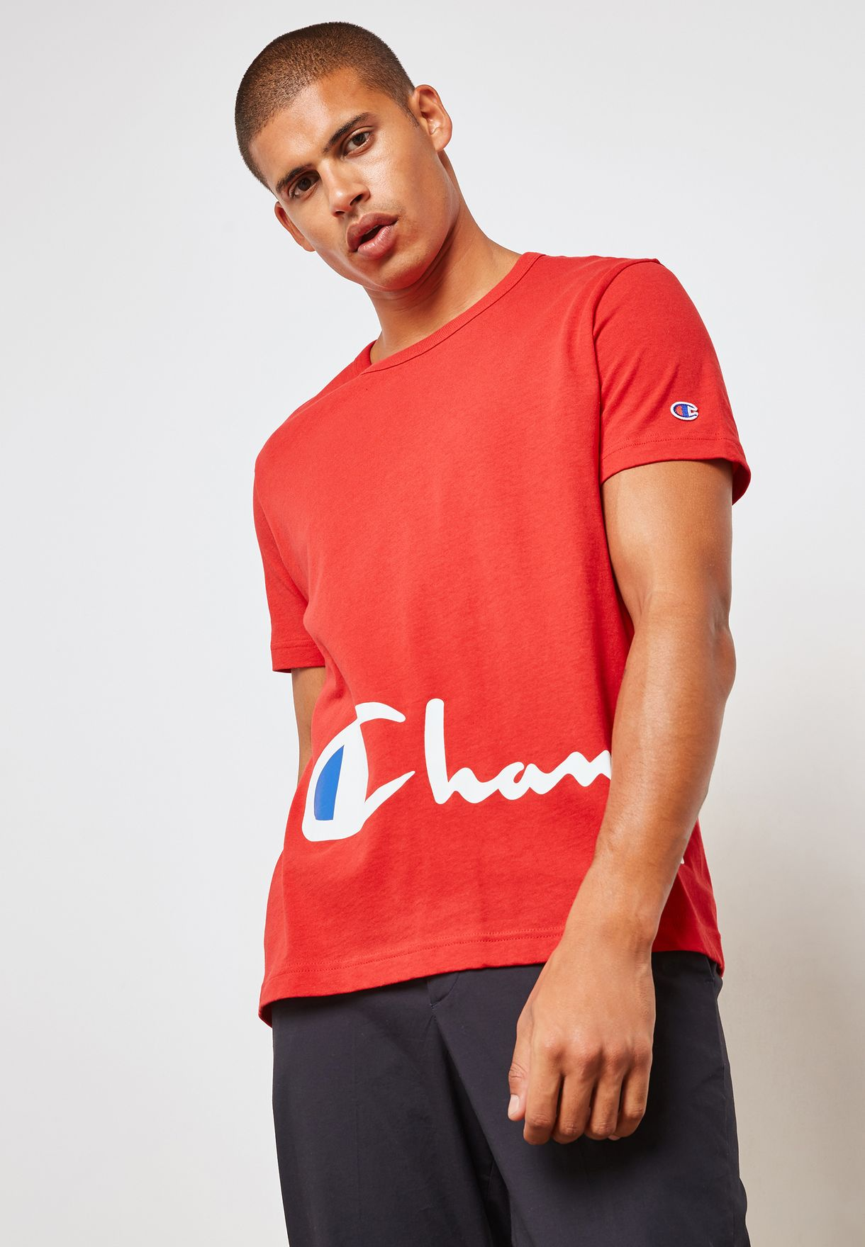 eedc473a Shop Champion red Big Script Logo T-shirt 212380-RS001 for Men in ...