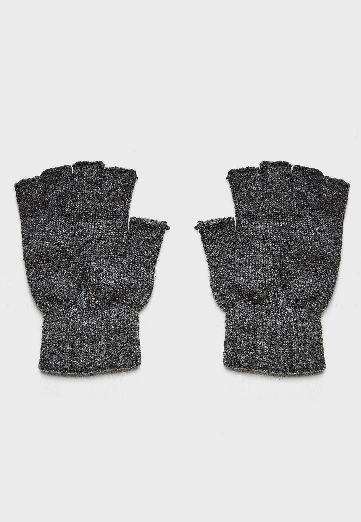 Shop Seventy five grey Knitted Fingerless Gloves OSM18903 for Men in ...
