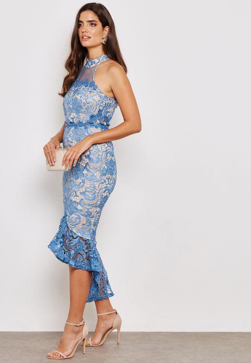 Halter Neck Lace Fishtail Midi Dress