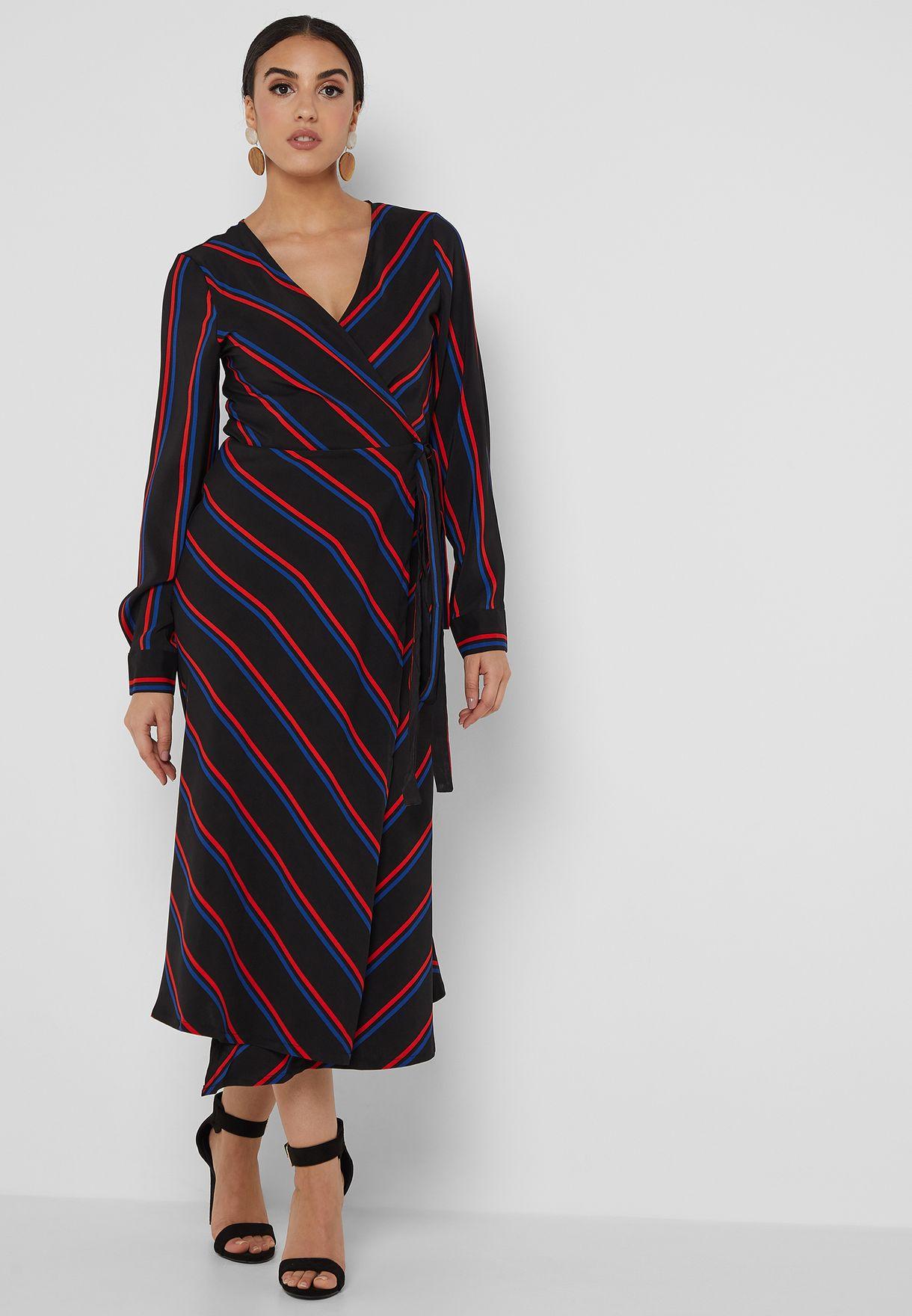 Striped Wrap Front Midi Dress
