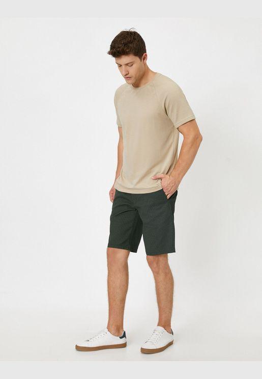 Geometric Patterned Woven Shorts