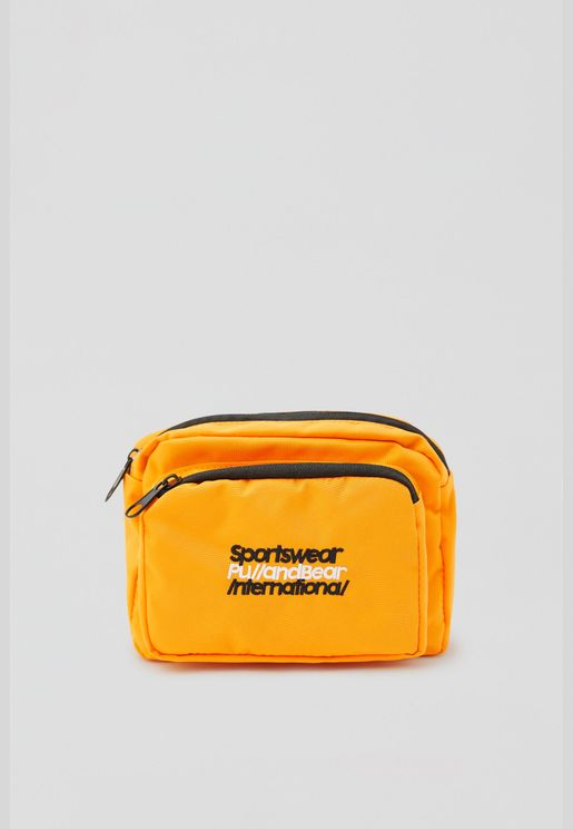 Orange belt bag with contrast slogan