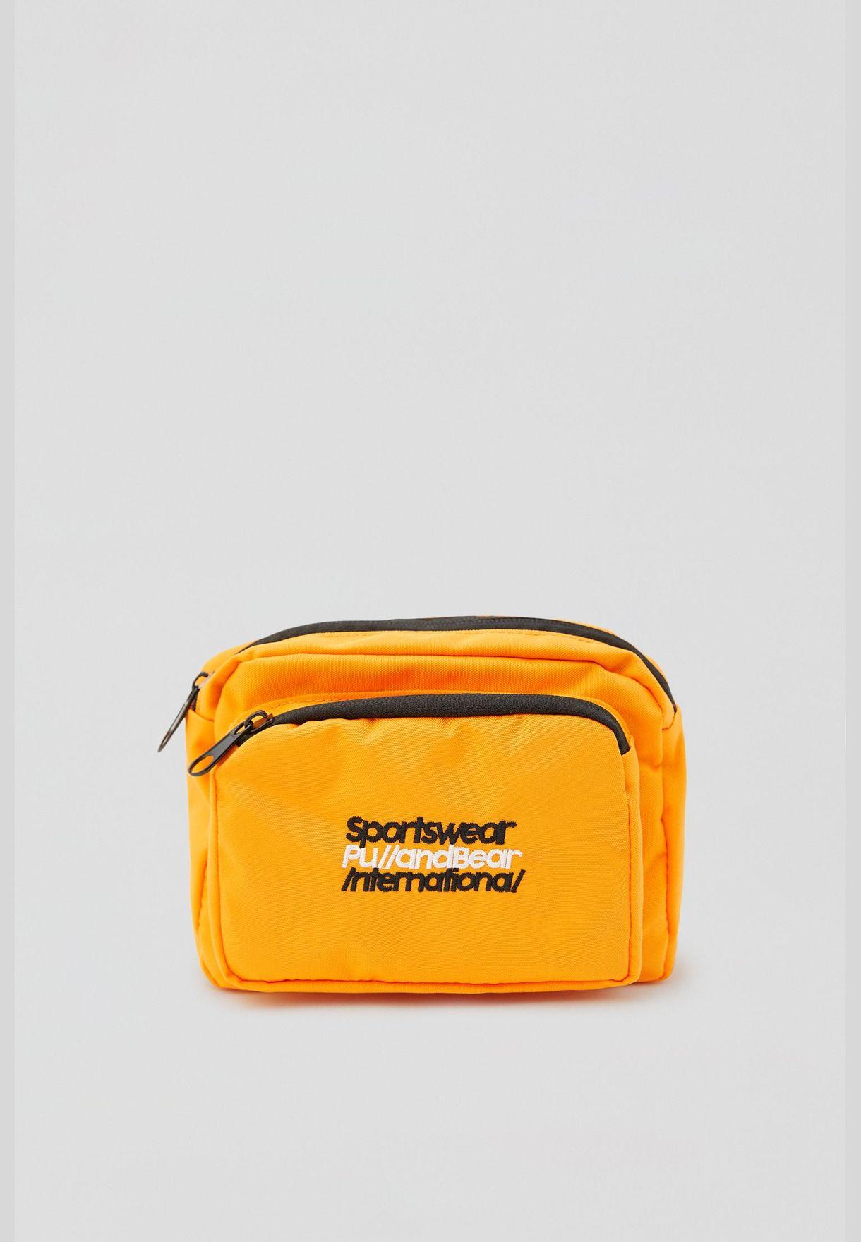 حقيبة خصر برتقالية بشعار متباين