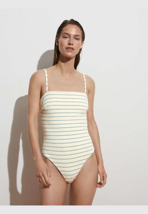 Cotton terry bandeau swimsuit