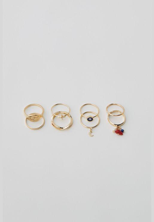 Pack of 8 esoteric rings