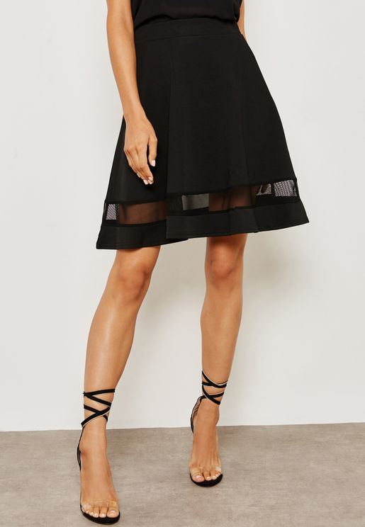 Lace Insert A-line Skirt