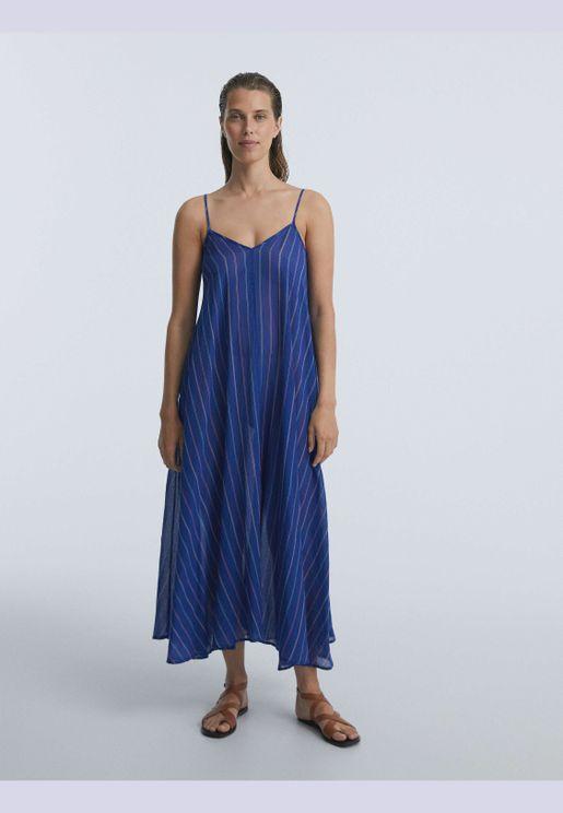 100% cotton long strappy dress
