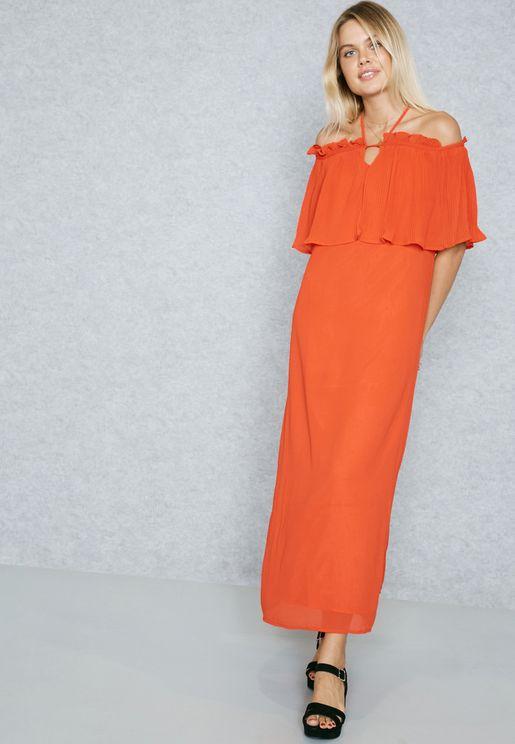 Halter Neck Ruffled Detail Maxi Dress