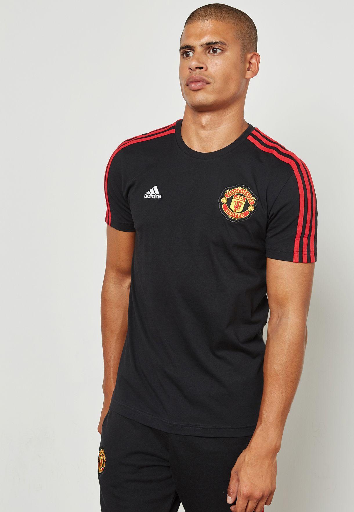 a898e778fa9 Shop adidas black Manchester United Stripe T-Shirt BQ2223 for Men in ...