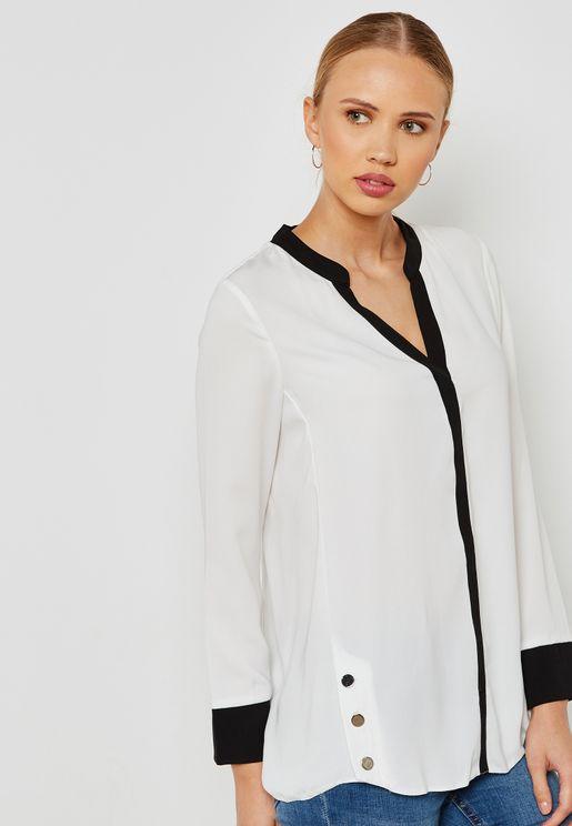 Contrast Trim Button Detail Shirt