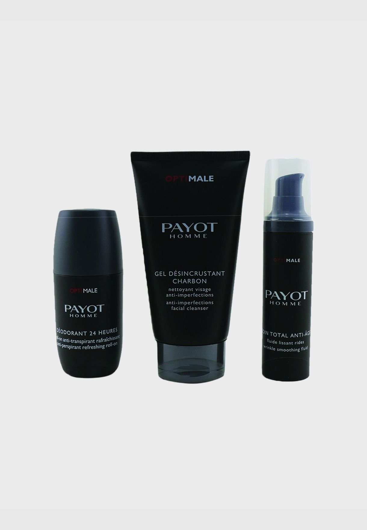Optimale Energising Ritual For Men Set : 1x Facial Cleanser 150ml + 1x Wrinkle Smoothing Fluid 50ml + 1x 24 Hrs Roll-On 75ml