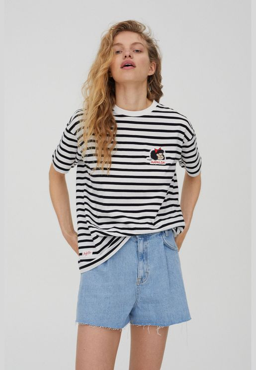 Striped Mafalda T-shirt with embroidery