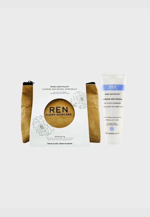 Rosa Centifolia Cleanse & Reveal Starter Kit: Hot Cloth Cleanser 100ml + 100% Unbleached Cotton Cloths 2pcs