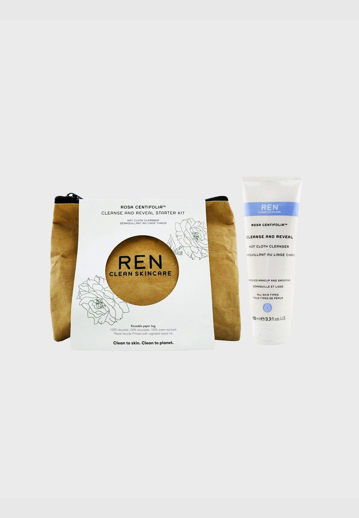 Rosa Centifolia Cleanse & Reveal Starter Kit: Hot Cloth Cleanser 100ml + 100% Unbleached Cotton Cloths 2pcs