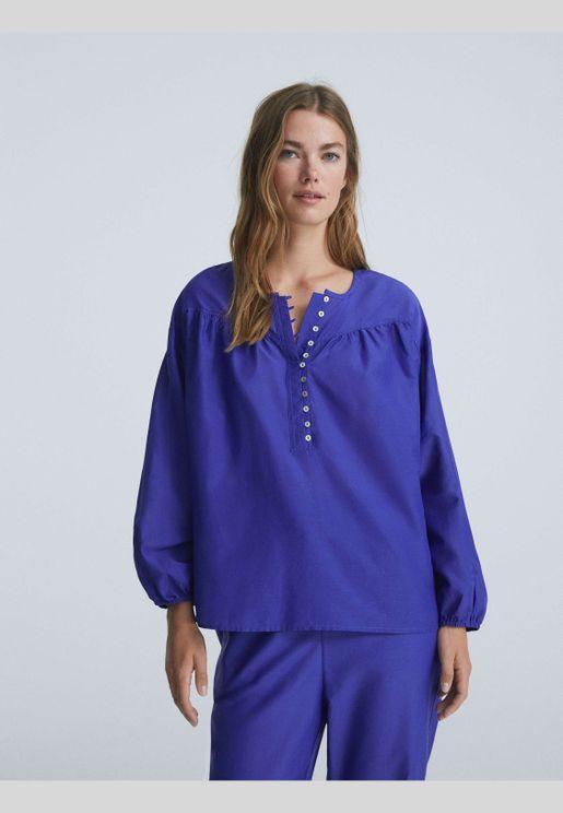 Long-sleeved silk/cotton blend shirt