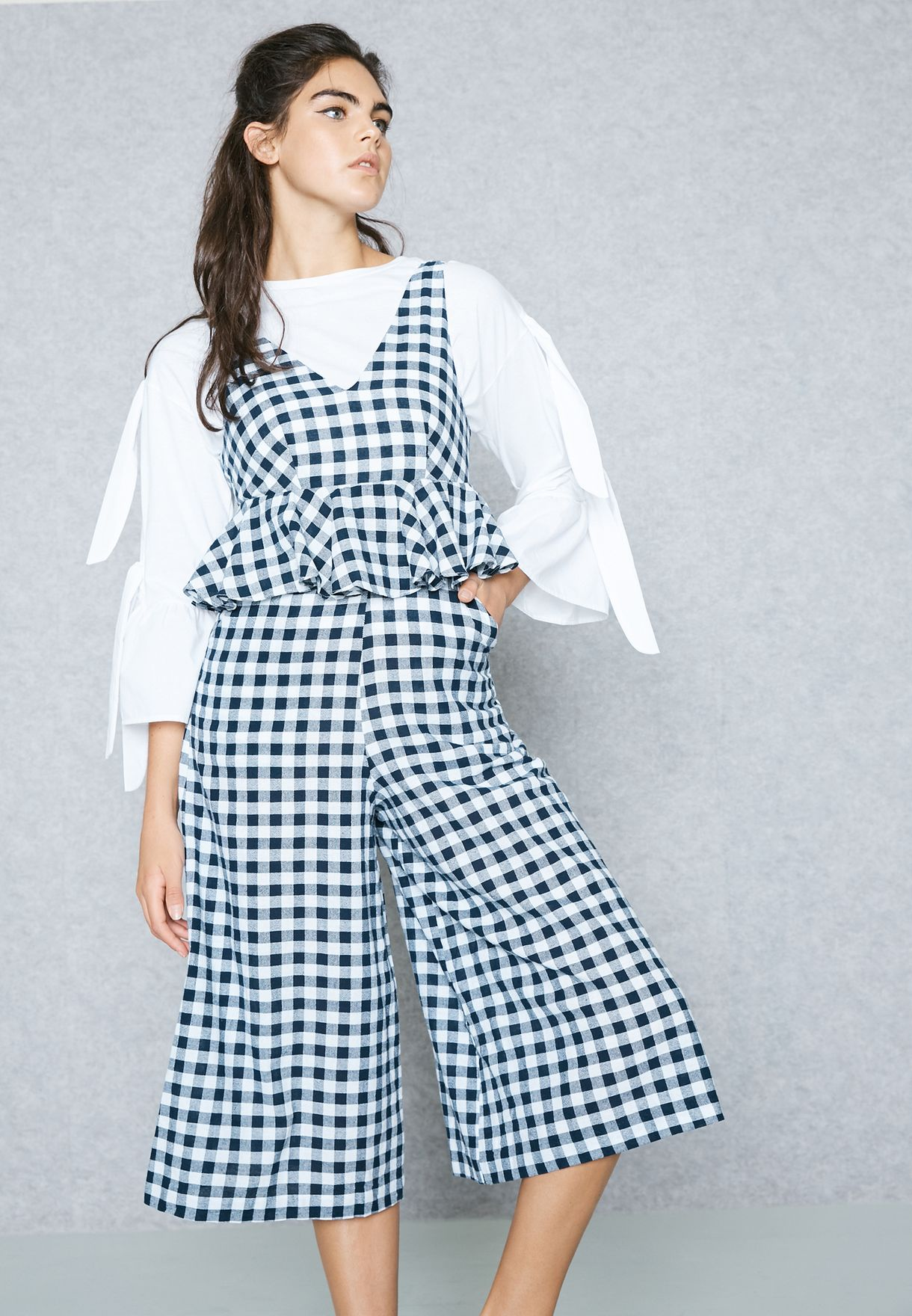 621e1c242f4 Shop Lost Ink prints Ruffle Detail Checked Jumpsuit 0501122150270040 for  Women in Kuwait - LO956AT98BKB