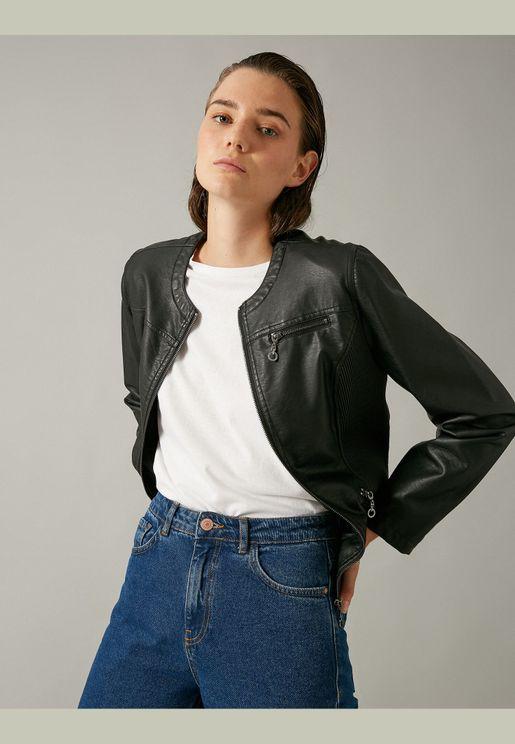 Leather Look Zip Jacket