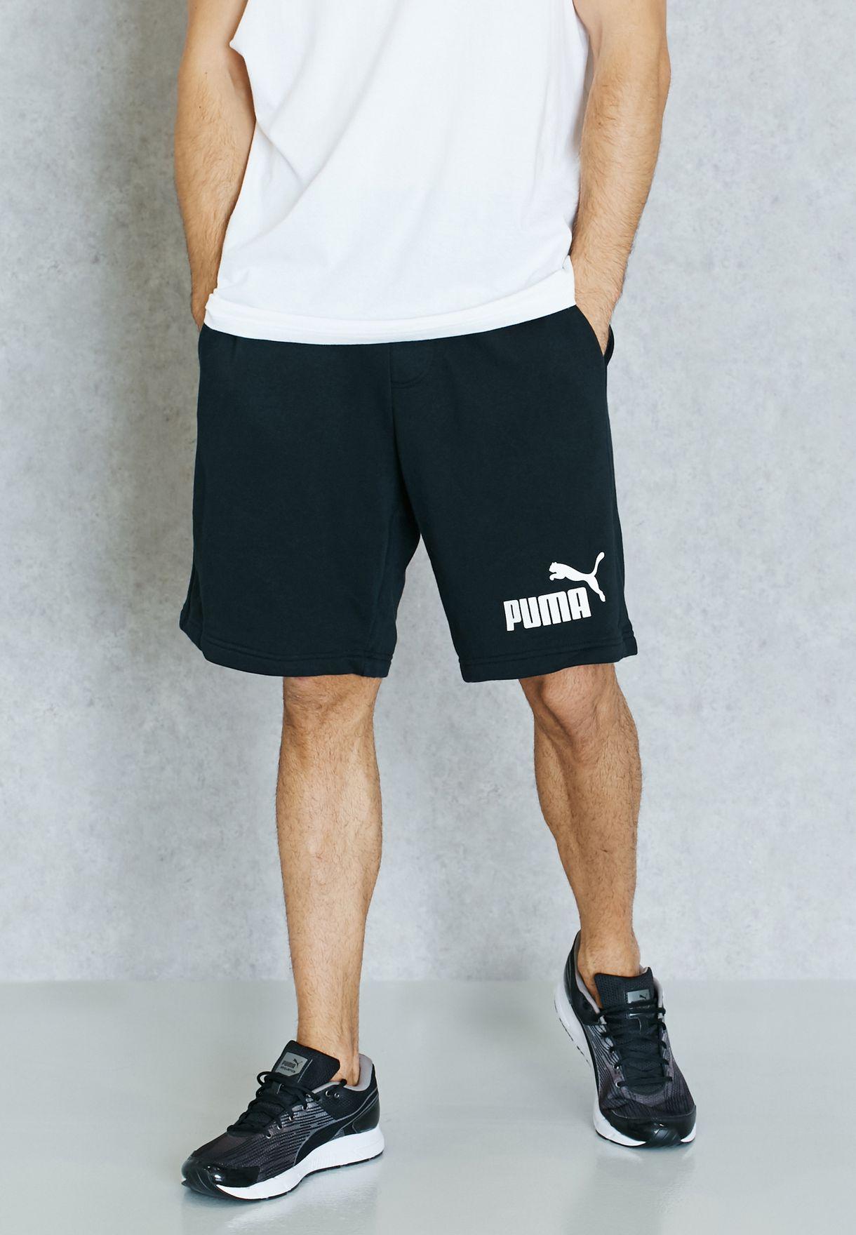 "02c76db23 Shop PUMA black Essential 9"" Sweat Shorts 83826101 for Men in ..."