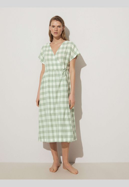 Gingham wrap midi dress