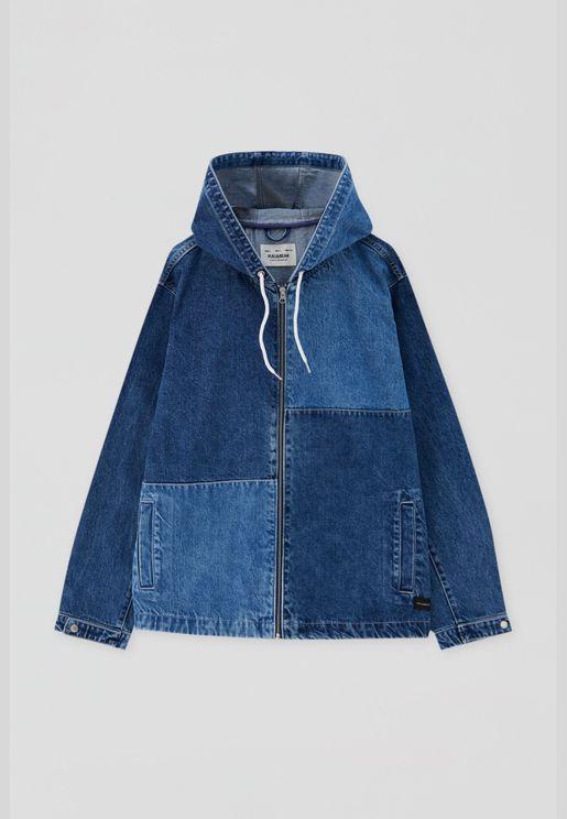 Patchwork design denim jacket