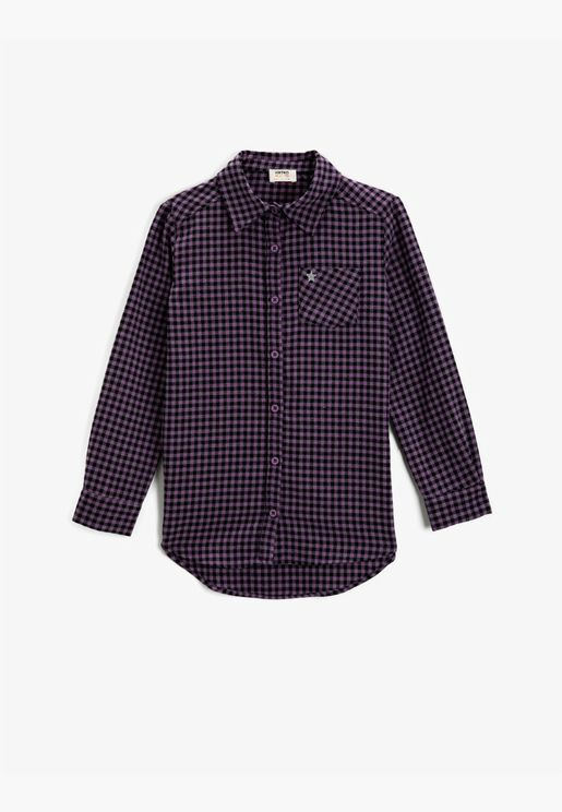 Checked Long Sleeve Classic Collar One Pocket Shirt