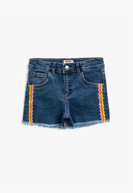 Jean Shorts Embellished Cotton