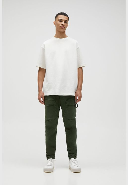 Soft knit cargo trousers