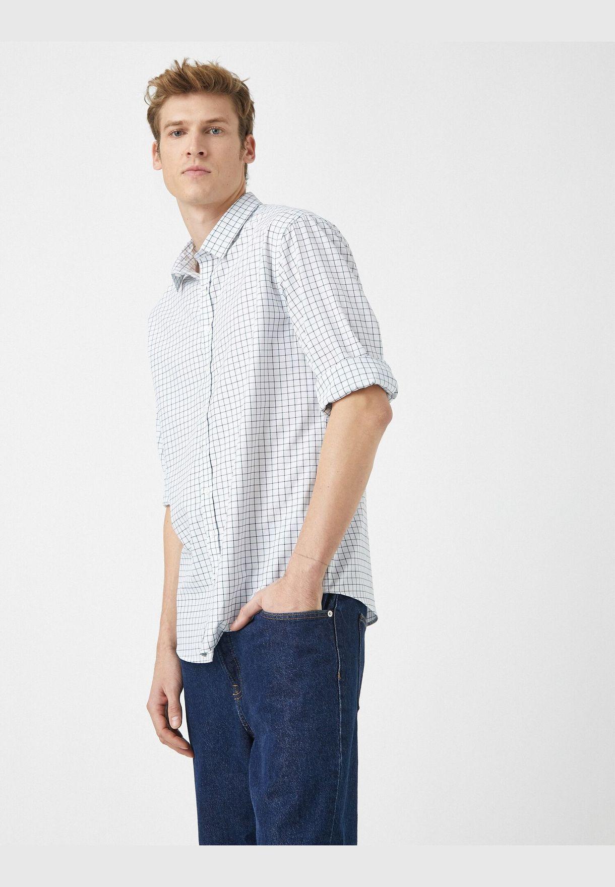 Classic Collar Long Sleeve Cotton Shirt