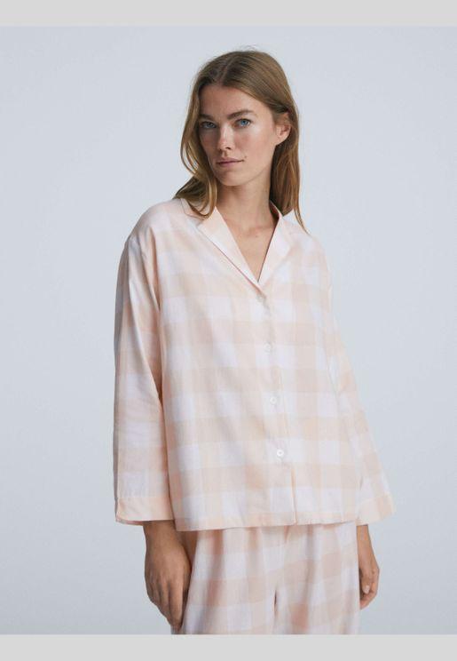 قميص بأكمام طويلة 100% من القطن بطبعة مربعات فيشي