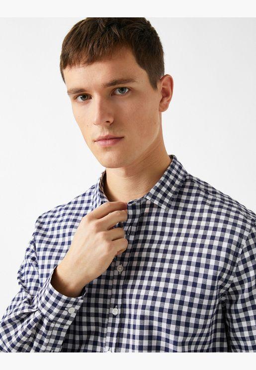 Check Cotton Classic Collar Long Sleeve Shirt