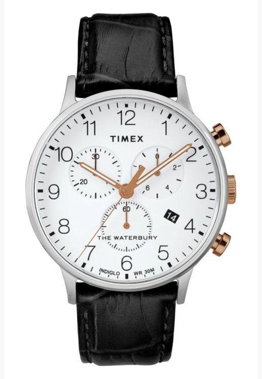ساعة تيميكس ووتربيري للرجال بسوار جلدي - TW2R71700