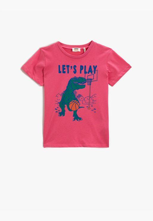 Dinosaur Printed T-shirt Cotton