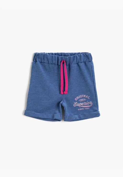 Drawstring Shorts Letter Cotton