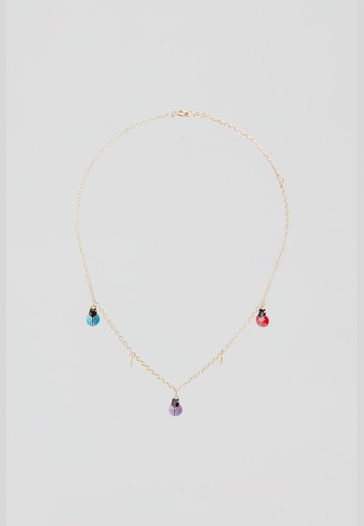 Colourful ladybird necklace