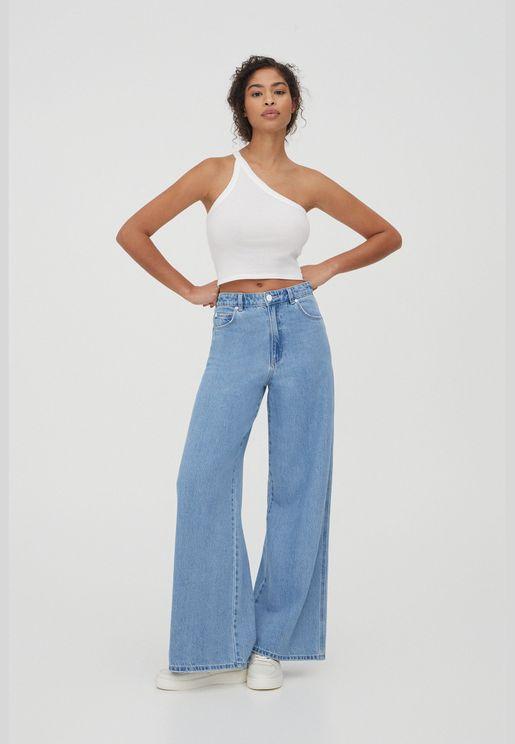 High waist wide-leg jeans - 100% ecologically grown cotton