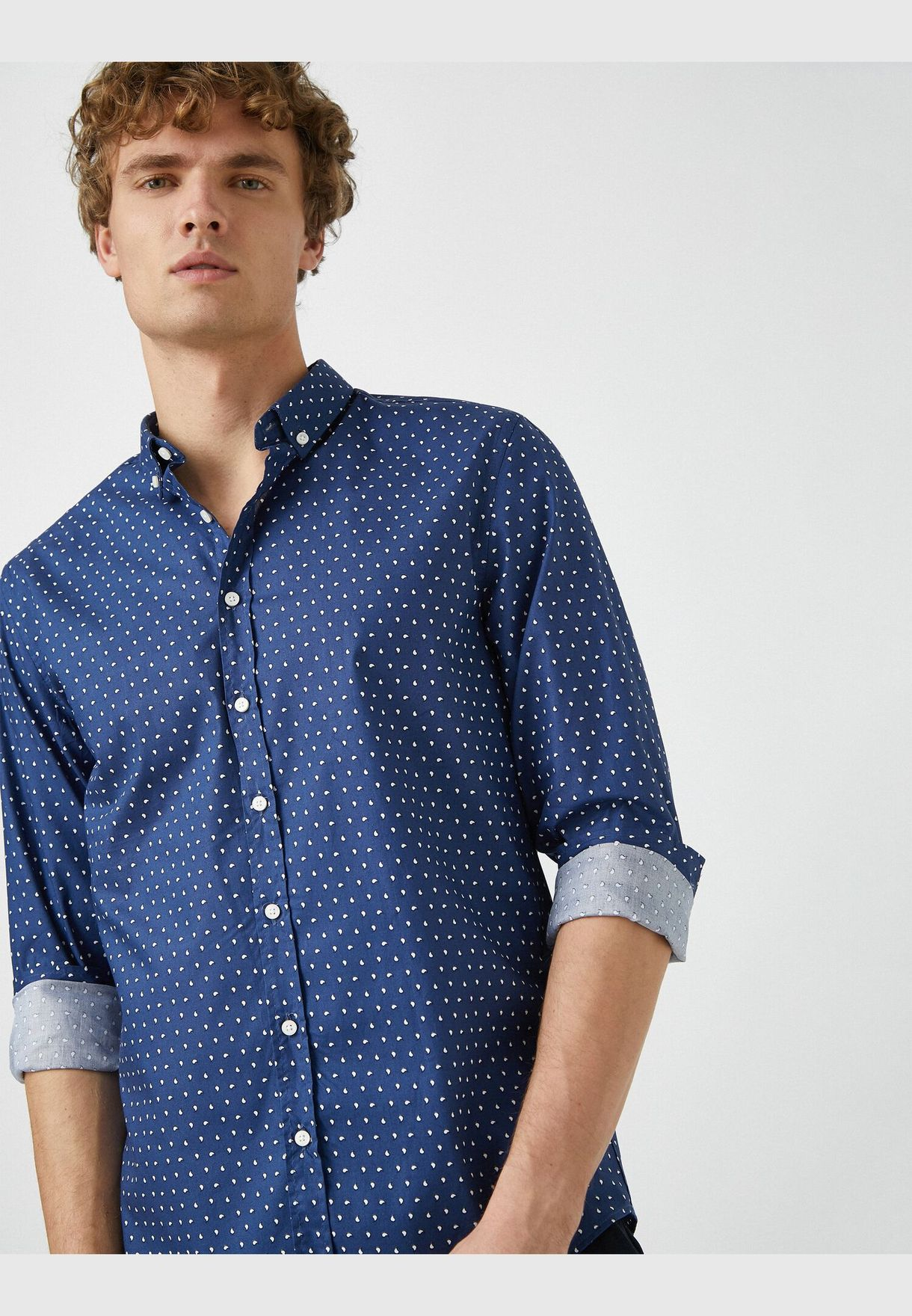 Classic Collar Long Sleeve Printed Shirt