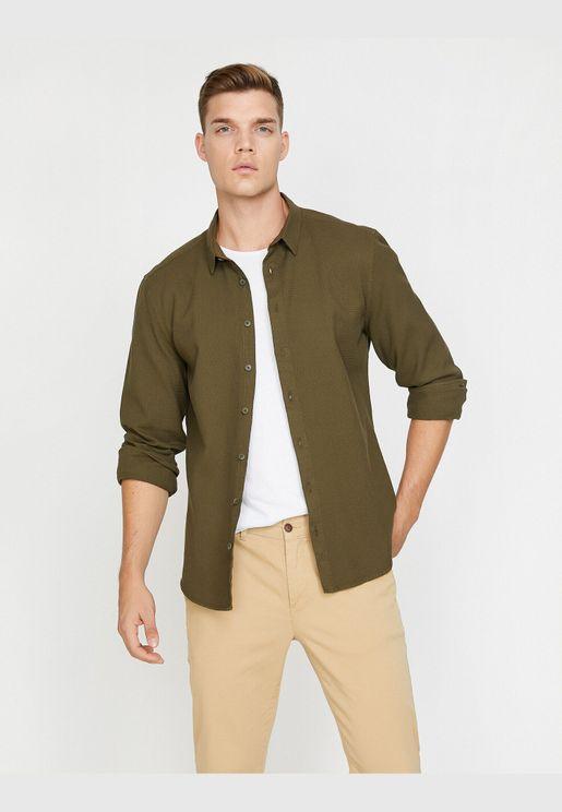 Classic Neck, Long Sleeve Shirt