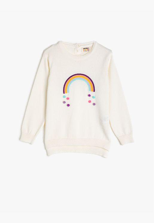 100% Cotton, Crew Neck, Pompom Sweater