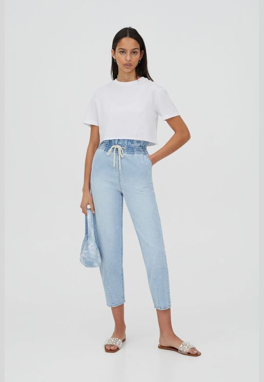 Slouchy jeans with elastic waistband