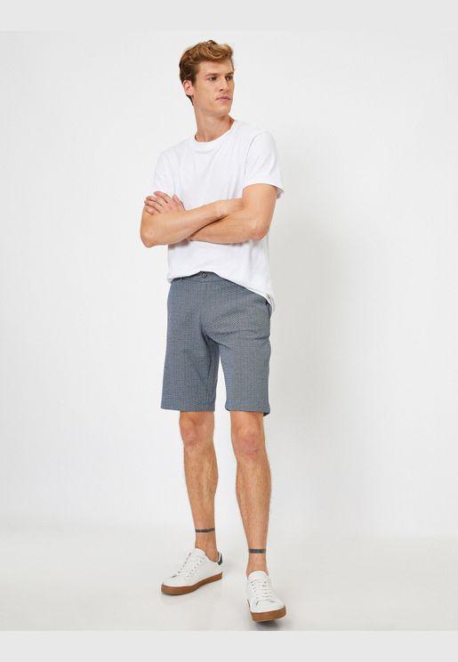 Linen Mix Pocketed Chino Shorts