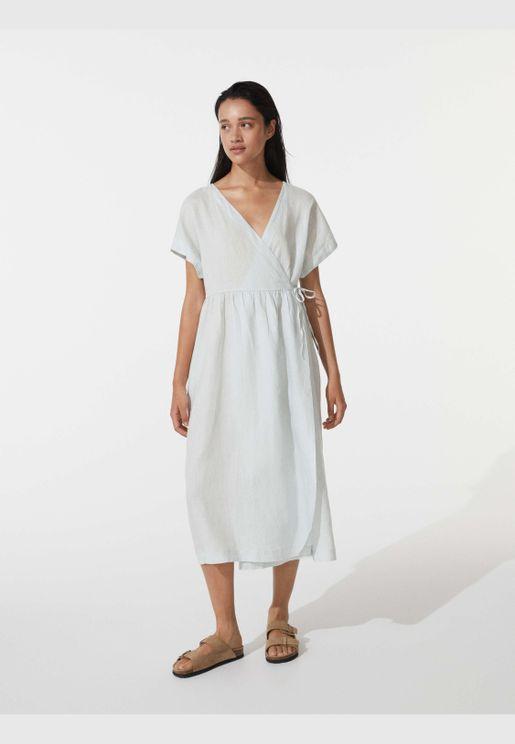 100% linen midi wrap dress