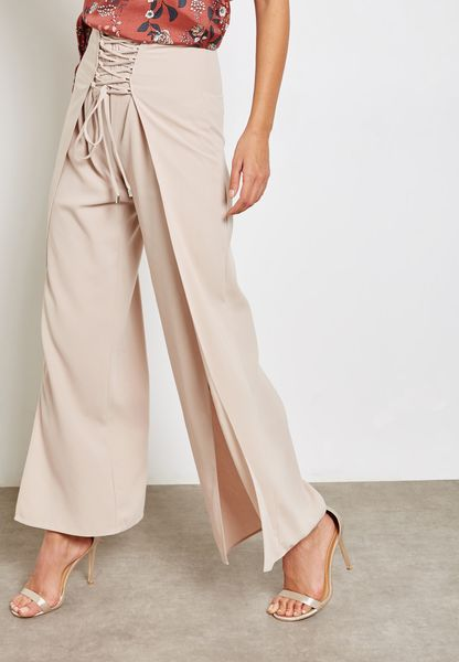 High Waist Lace Up Pants