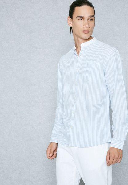 Stripe Nehru Collar Shirt