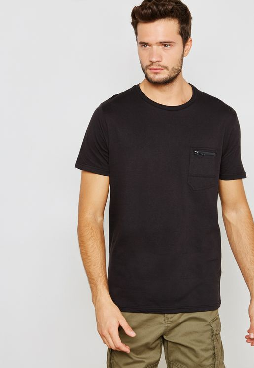 Faustiang Pocket Detail Crew Neck T-Shirt