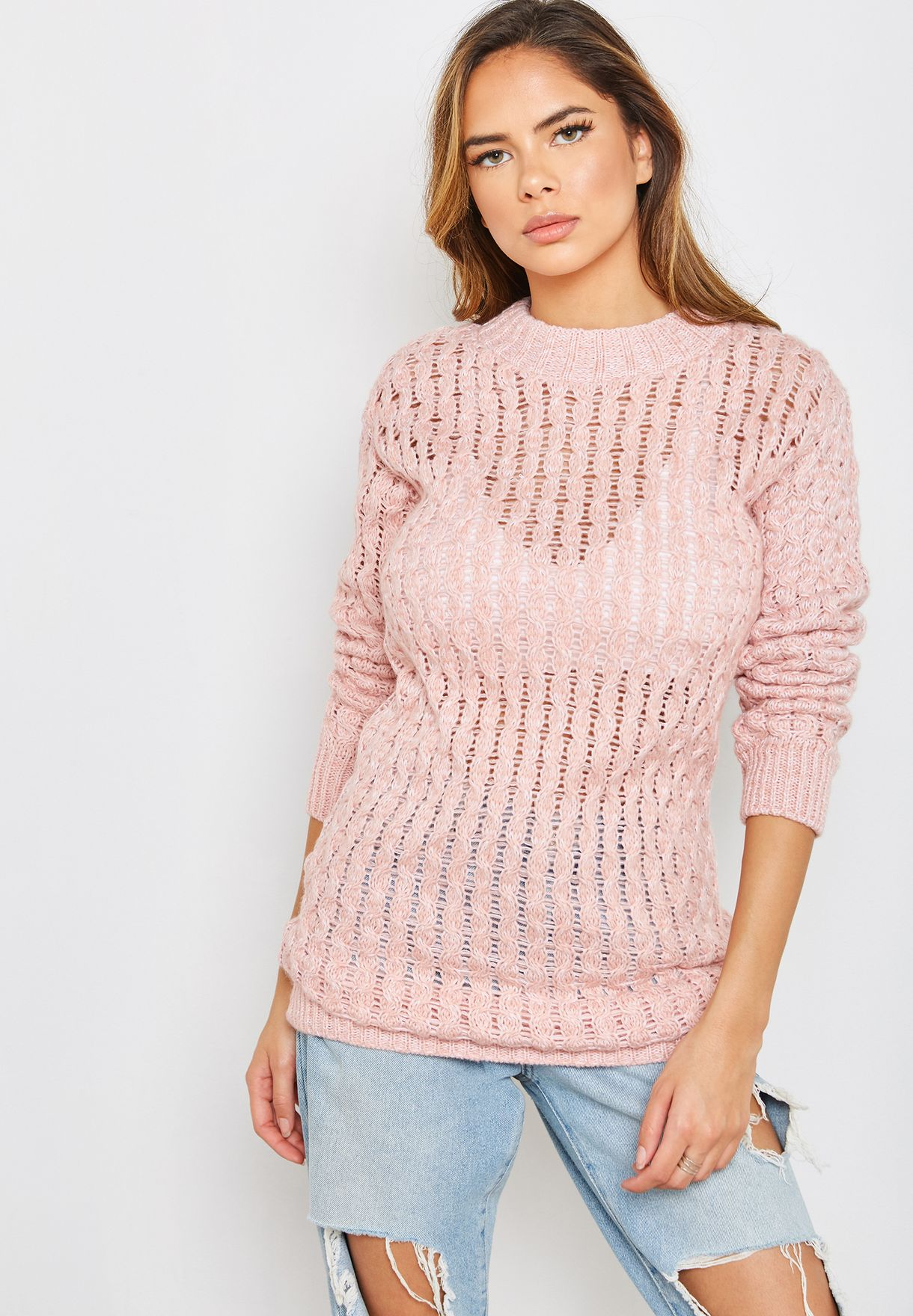 Cable Knit Longline Sweater